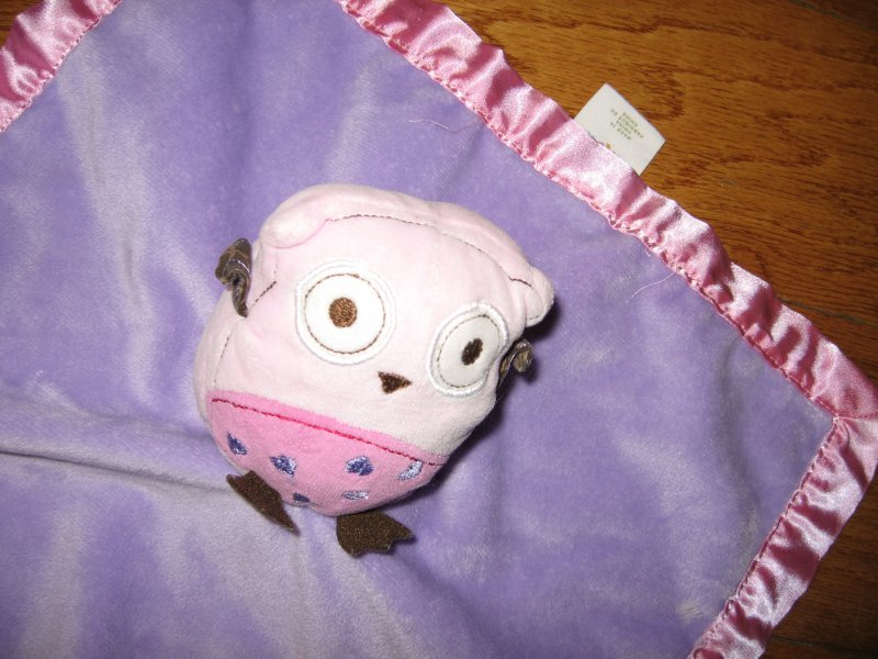 Image 1 of Pig Lovey Security Blanket lilac w/satin binding