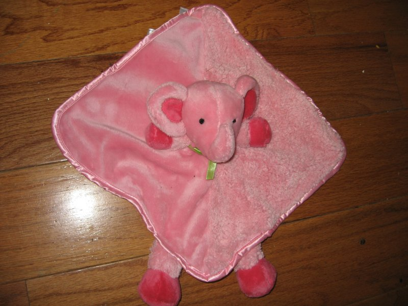 Elephant Lovey Security Blanket lilac with satin binding