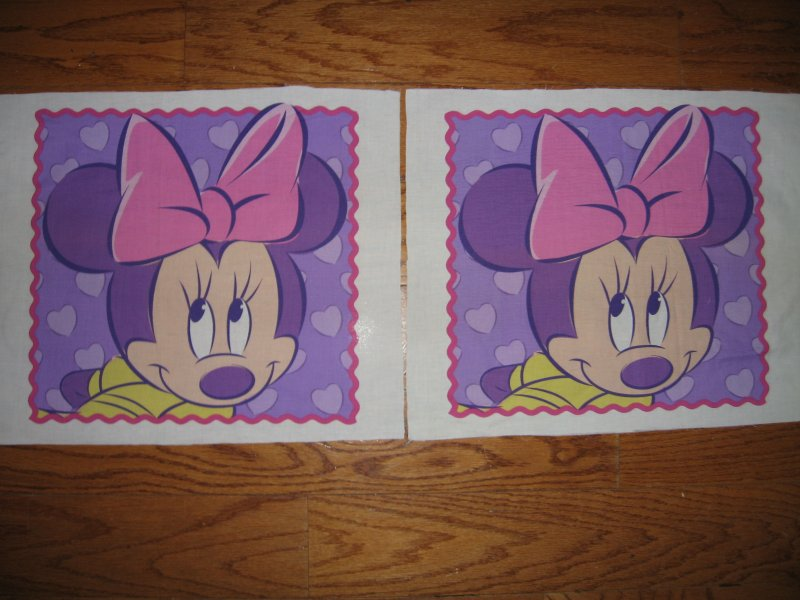 Minnie Mouse lilac background and pink border TWO pillow panels the same to Sew