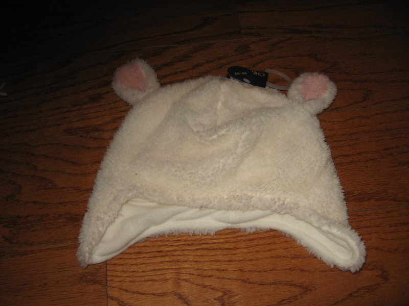 Winter CHEROKEE - infant polyster fleece sheep Hat W/ Ears NWT super soft /