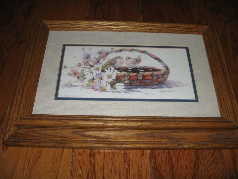 Image 0 of Baby birds basket daisy flowers M. Simandle watercolor print