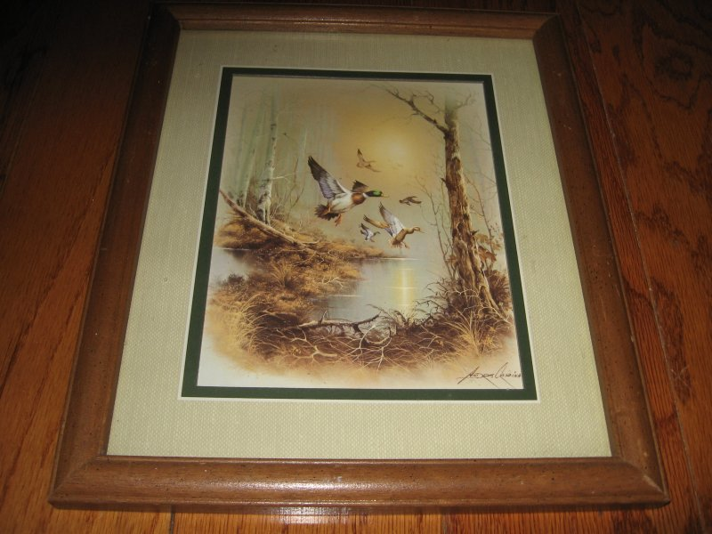 Morning Flying Mallard ducks Andres Capinas Art Waterfowl Signed Print 11 X 13