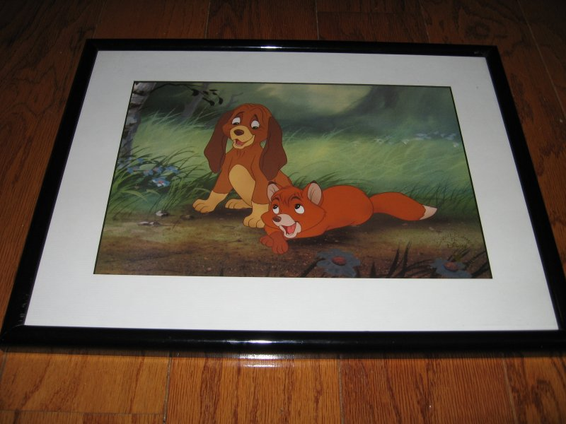 Disney fox and hound commemorative lithograph 1994 13 X 17