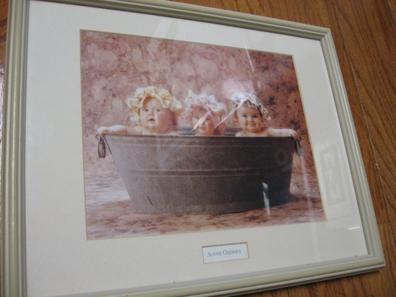 babies in washtub reproduction of a photograph Anne Geddes  12 X 15