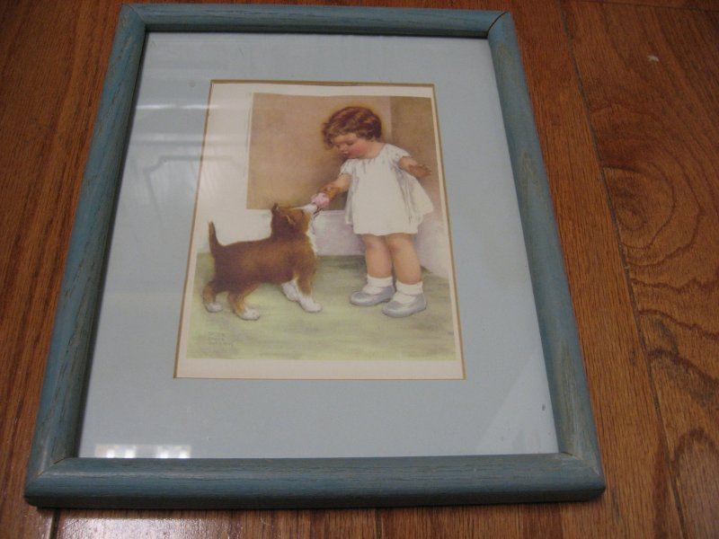 Little Girl with Dog Puppy reproduction of signed painting by Bessie Pease