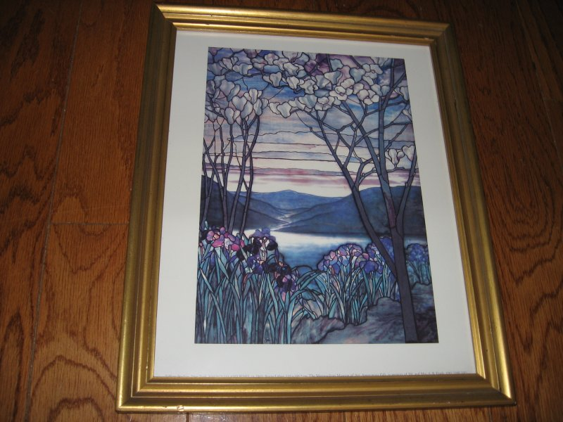 Magnolias & Irises Stained Glass Print  Tiffany Studios  1905 12.5 X 15.5