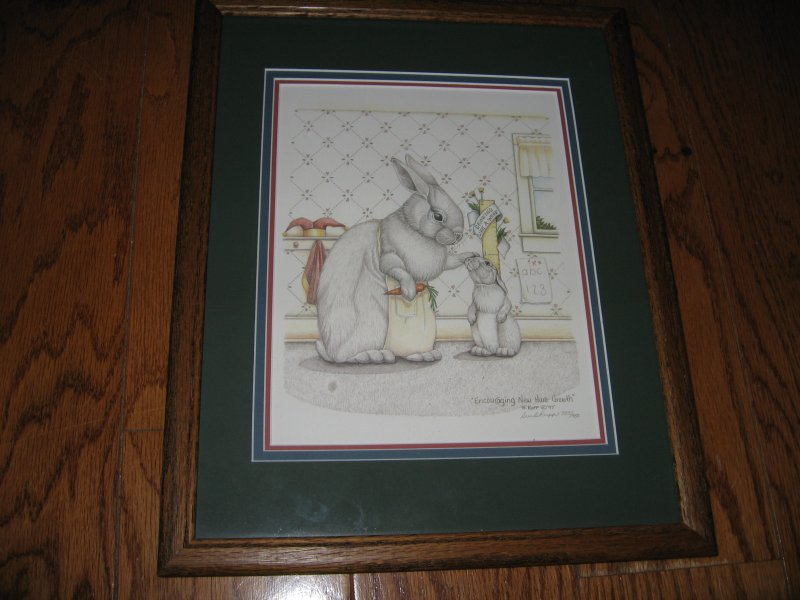 Bunnies Sue B Rupp Pen/Ink Print Signed/Numbered Encouraging New Hare Growth