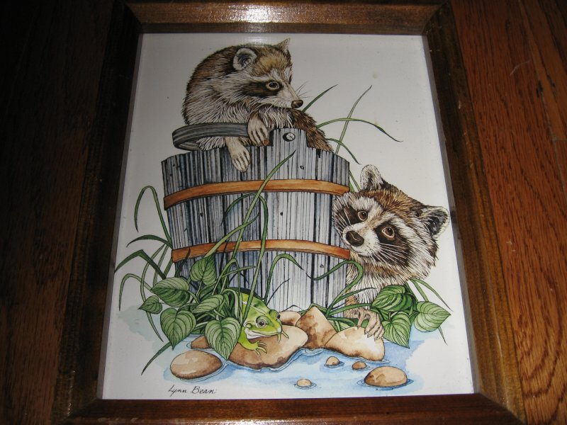 Raccoon in wooden bucket Lynn Bean reproduction of signed painting of 9X11