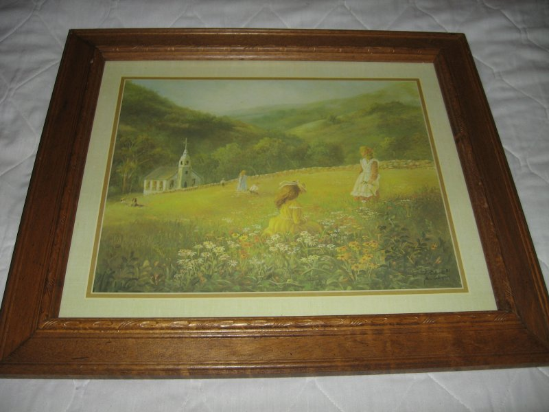 Children in Meadow near church Thru God's Grace Bettie Felder 17 X 20