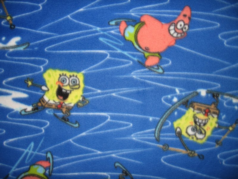Image 0 of SpongeBob and Patrick ice skating fleece baby blanket