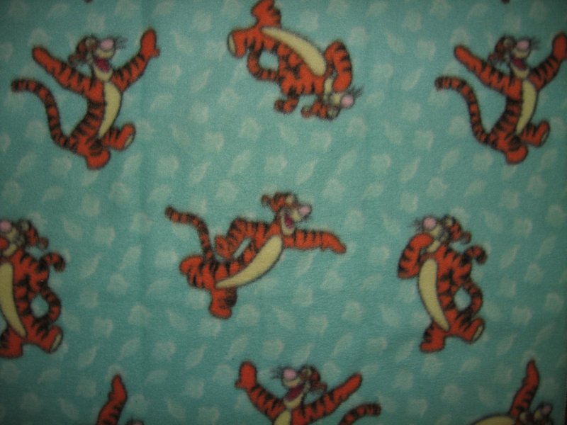 Image 0 of Tigger jumping around on a bluegreen soft  fleece baby blanket