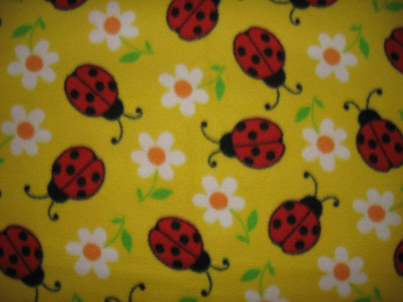 Lady Bug Red Insect Daisy Flower On A Yellow Baby Fleece