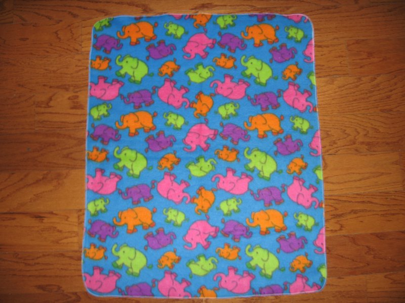 Image 0 of Elephant  fleece blanket baby toddler jungle animal neon 28 X30