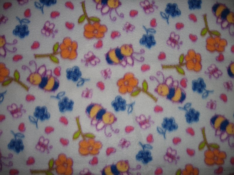Bee fleece baby blanket honey insect flower garden light blue