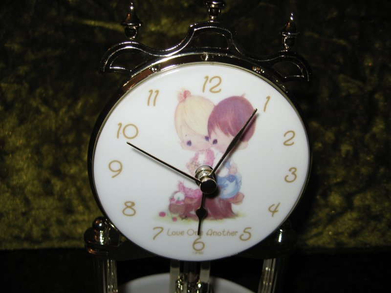 Image 2 of Anniversary Porcelain Clock Precious Moments Love one another