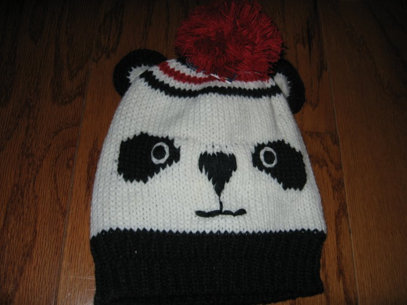 Panda winter  hat mittens and red yarn pompom new super soft for child 2T-5T