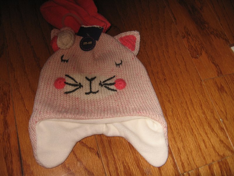 Sleepy Kitten child Winter knit Hat with mittens new super soft size 2T-5T /