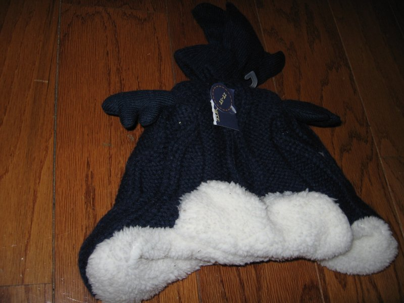 Moose knit Winter child blue Hat new super soft size 2T-5T /