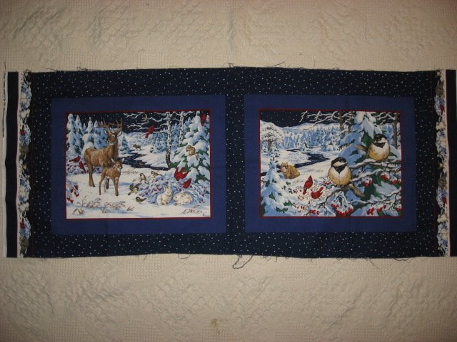 Chicadee bird  deer in the Winter Fabric pillow panels set of two pictures