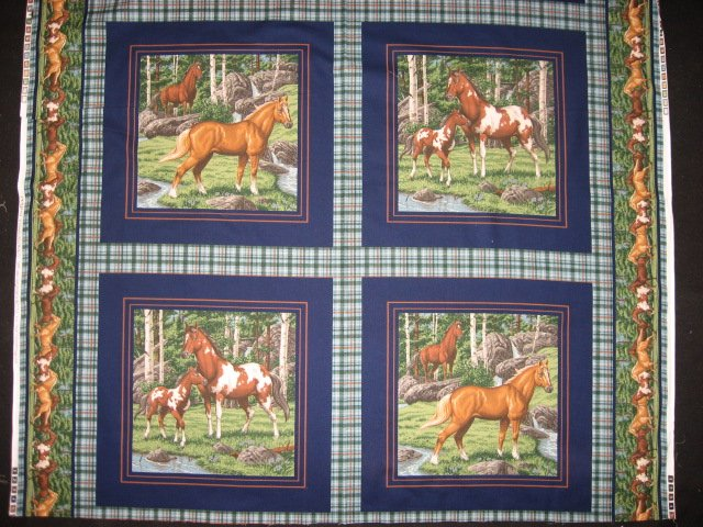 Horses in the woods stream Fabric pillow panels set of four pictures