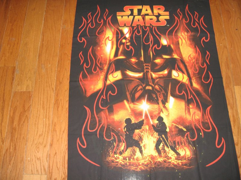 Darth Vader Star Wars Light Saber Rare Licensed Fabric wall panel to sew/