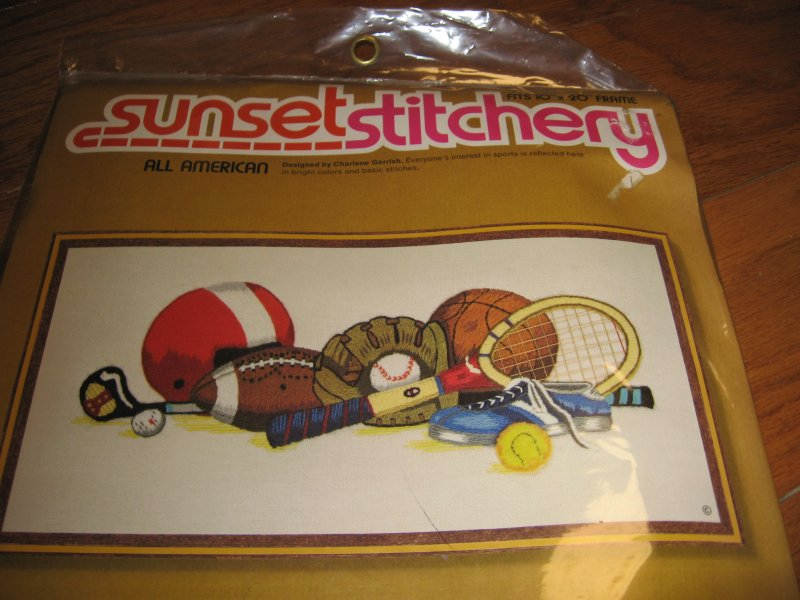 Image 1 of Sunset stitchery all american sports Embroidery Kit to Make