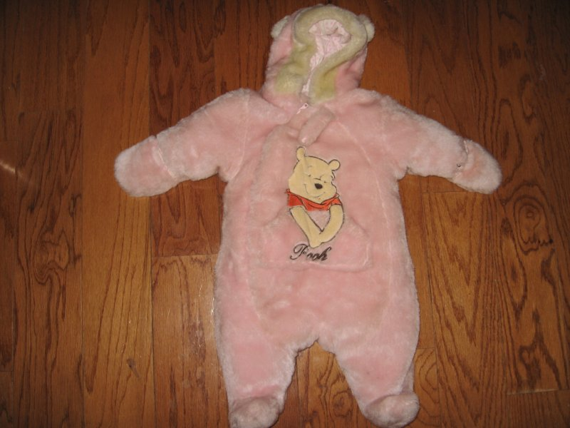Winnie the Pooh girl Plush fleece pink snow suit like new 3-6 months /