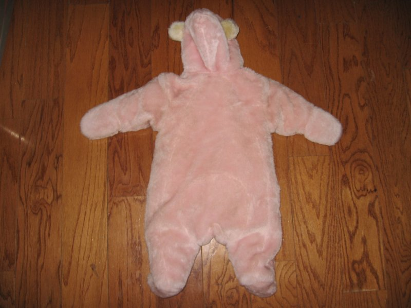 Image 2 of Winnie the Pooh girl Plush fleece pink snow suit like new 3-6 months /