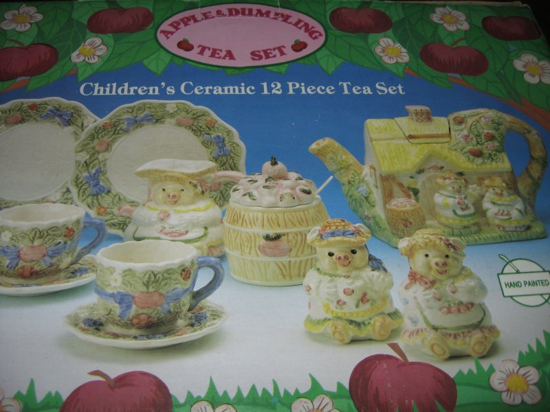 Image 2 of Apple and Dumpling Tea Set Child Ceramic 12 piece Hand Painted