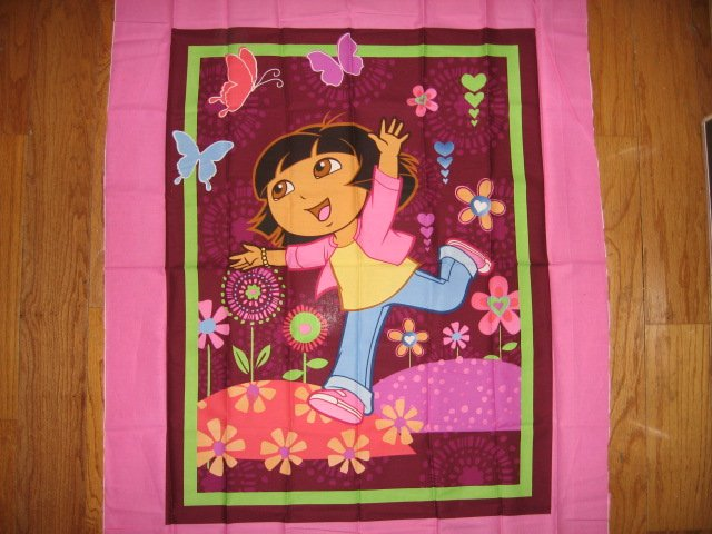 Image 0 of Dora the Explorer cotton fabric crib top baby or child wall panel to Sew  /