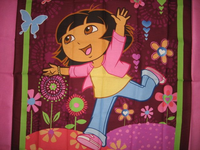 Image 1 of Dora the Explorer cotton fabric crib top baby or child wall panel to Sew  /
