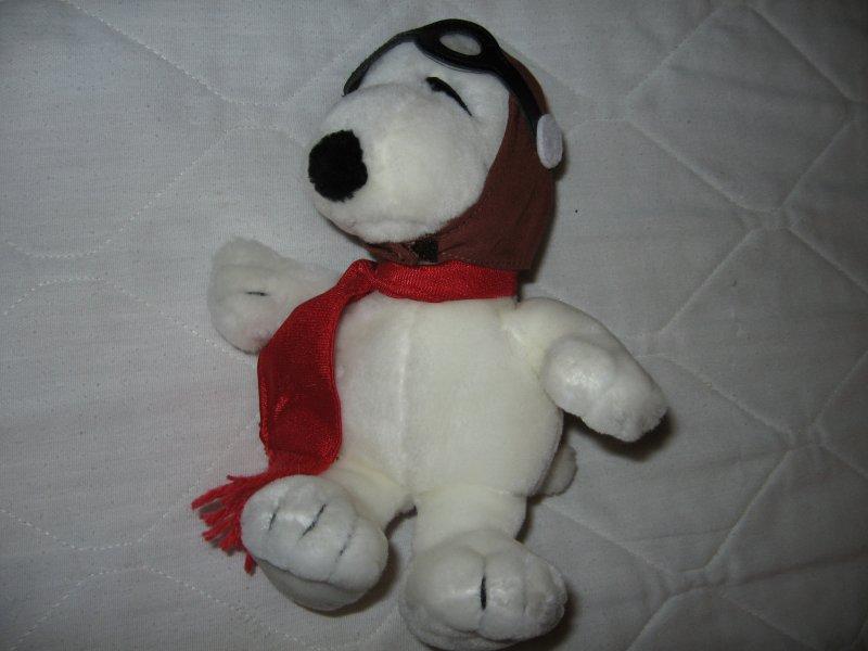Image 1 of Peanuts snoopy avaiator mini beanie doll red scarf flight cap 9