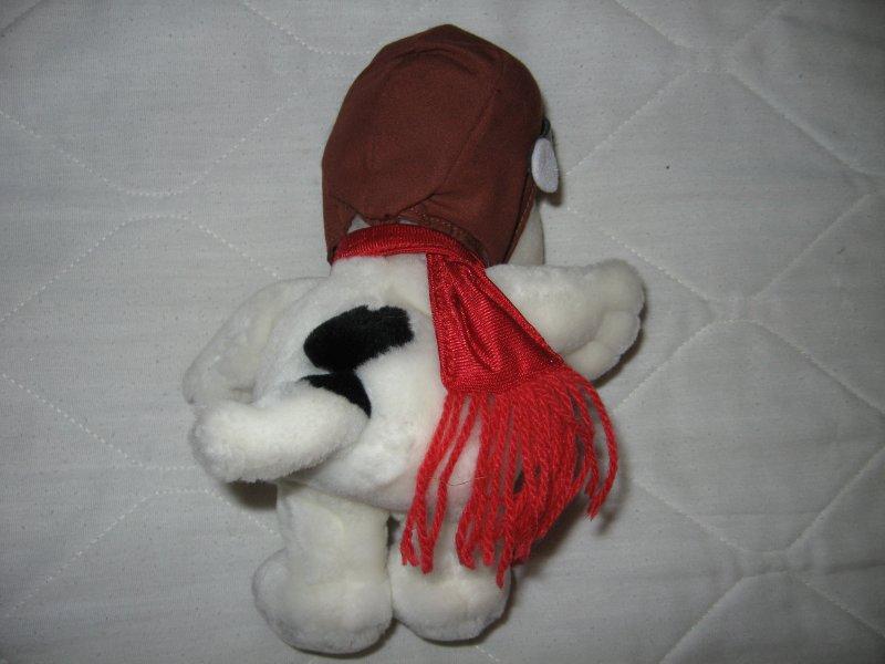 Image 2 of Peanuts snoopy avaiator mini beanie doll red scarf flight cap 9