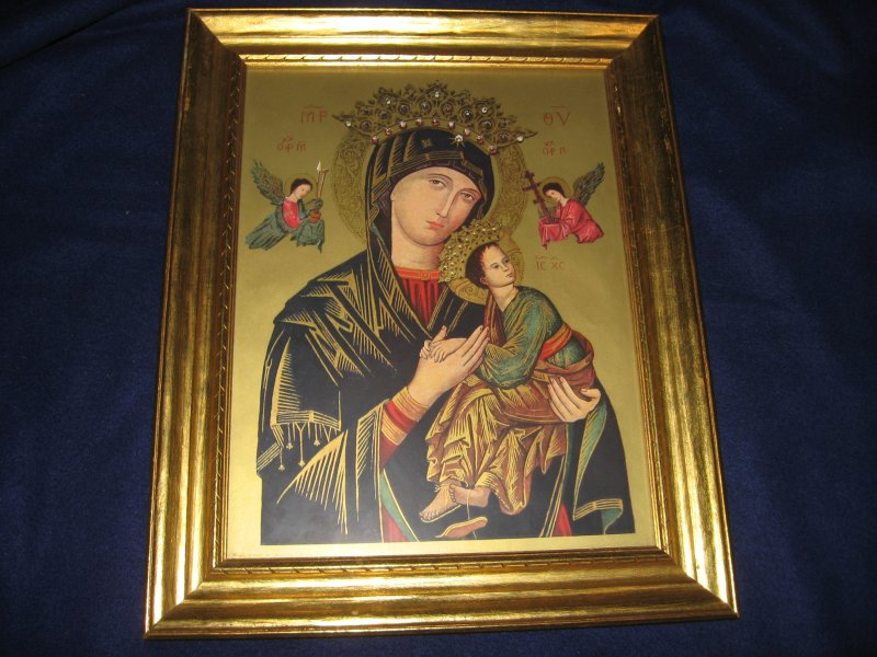 Mother of Perpetual Help religous child Jesus framed blessed by original