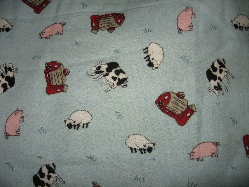 barn cow sheep pig farm animals on powder blue flannel by the yard