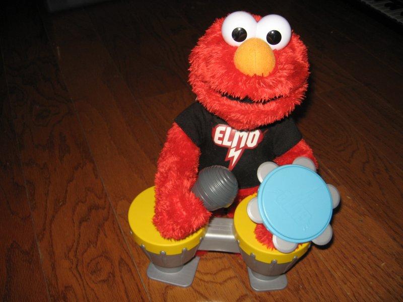 Image 3 of Sesame street Elmo Hasbro doll talks sings drums microphone castanet