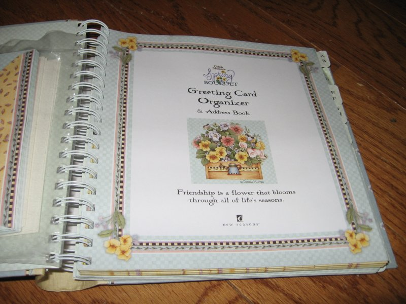 Image 1 of Debbie Mumm Greeting card organizer and address book spring bouquet collection