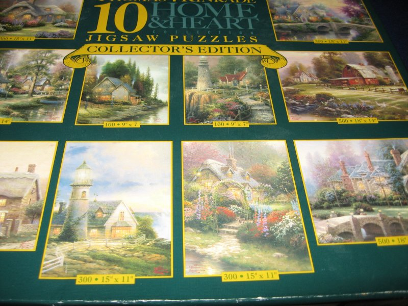 Thomas Kinkade puzzles 10 home and heart collector's edition rare 2004 sealed