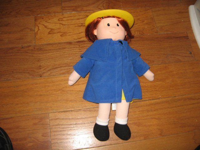 Madeline talking Doll Yellow dress hat blue coat Great Condition