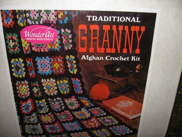 Wonder art granny crochet  Afghan kit 14 colors Sealed New 45X60