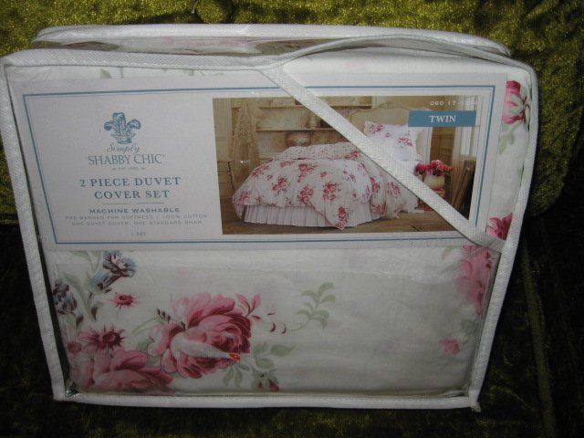 Image 0 of Shabby Chic New 2 Piece Twin Duvet cover and sham Shabby Chic