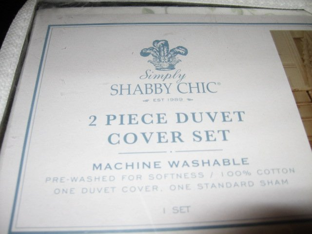 Image 1 of Shabby Chic New 2 Piece Twin Duvet cover and sham Shabby Chic