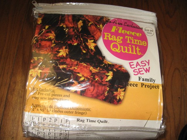 Fall Leaves Easy Sew Fleece Rag Time Quilt Kit with directions