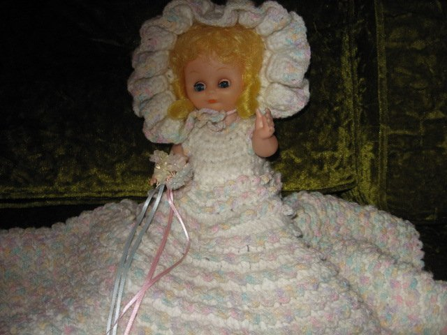 Image 0 of Bride doll wedding crocheted dress hat bonnet bouquet flowers /