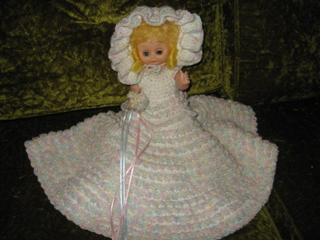 Image 1 of Bride doll wedding crocheted dress hat bonnet bouquet flowers /
