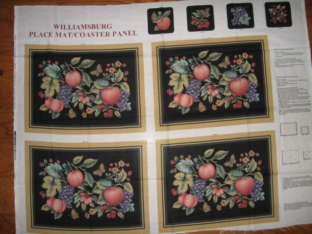 Image 0 of Williamsburg placemats coasters butterfly fruit set of four black Panels to Sew