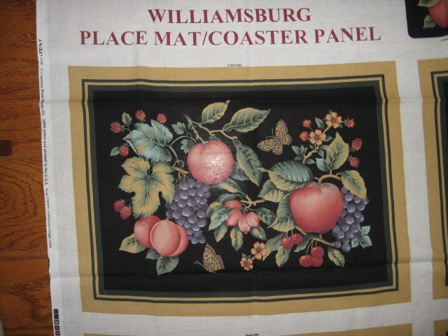 Image 1 of Williamsburg placemats coasters butterfly fruit set of four black Panels to Sew
