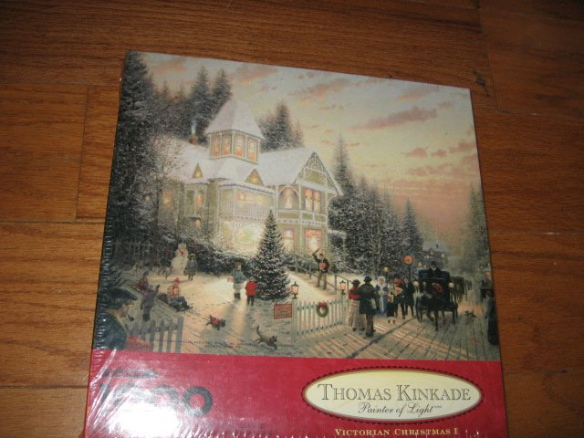 Thomas Kinkade Victorian Christmas 1000 piece Puzzle  oversized year 1995 new