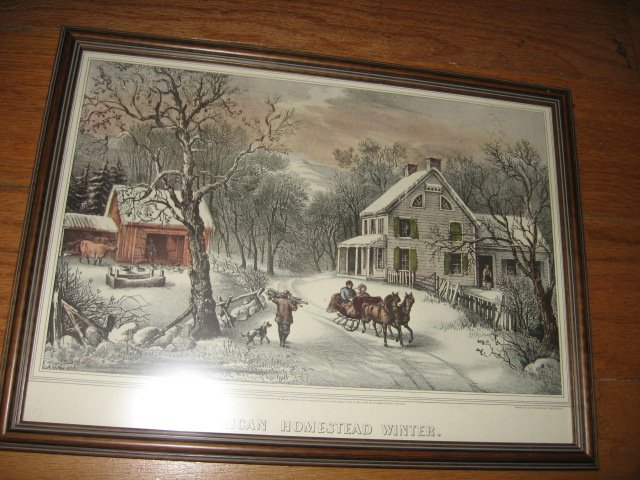 Currier and Ives Lithograph reprint American Homestead Winter Framed