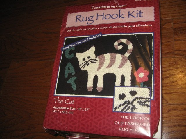 Image 0 of Cat Latch Hook kit yarn rug The Cat 18 X 27 inches new in box